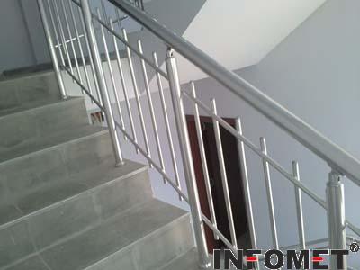 стълбищен алуминиев парапет с хоризонтални вертикални Ф16